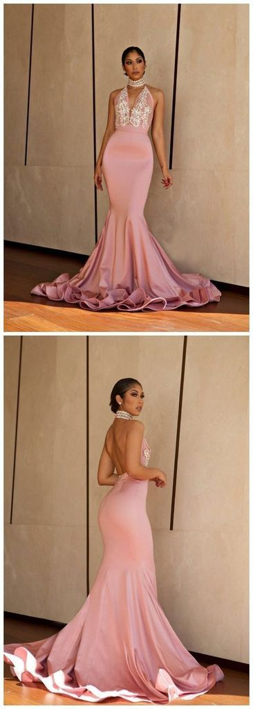 Gorgeous Mermaid Halter Backless Blush Pink Lace Long Prom Dresses with Beading, Elegant Evening Dresses,E0435