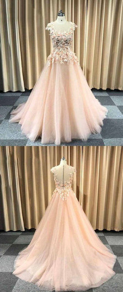 Pretty pink tulle cap sleeves long floral lace appliqué evening dress, senior prom dress,E0438