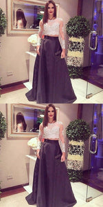 2 Pieces Long Prom Dresses Applique Evening Dresses Satin A-Line Formal Dresses,E0440