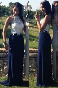 Royal Blue Prom Dresses,Halter Prom Dresses,Lace Prom Dresses,Charming 2019 Prom Dresses,Sheath Prom Dress,E0442