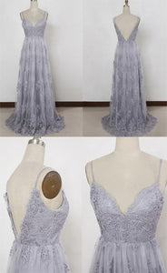 Lavender Tulle Sheath Spaghetti Straps Backless Prom Dresses with Appliques,E0449