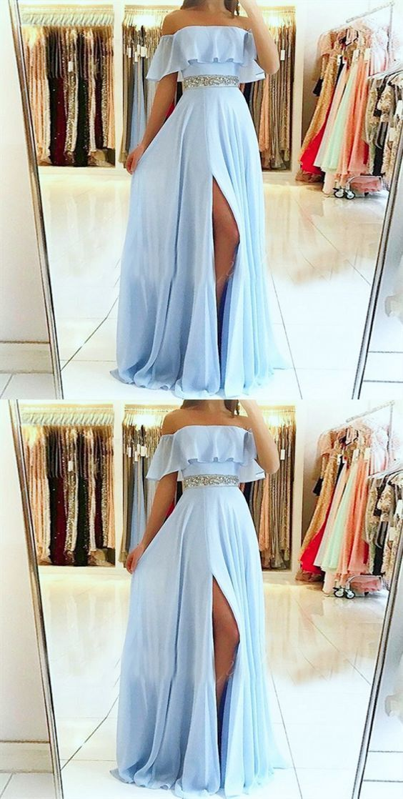A-Line Off the Shoulder Split Front Blue Chiffon Prom Dress with Beading Belt,E0451