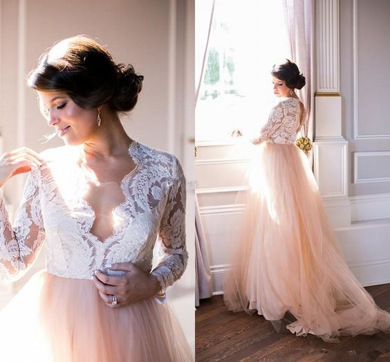 Plus Size Pink Summer Beach Wedding Dress Long Sleeve Lace V-Neck Tulle Modest Country Bridal Wedding Dresses,E0460