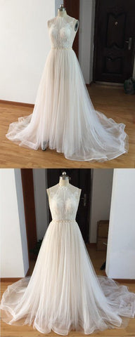 Ivory Tulle Halter Beautiful Long Wedding Dress, Charming Beach Wedding Gowns,E0461