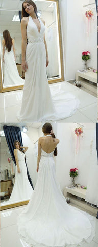 Sheath Halter Backless Sweep Train Wedding Dress with Beading Pleats,E0463