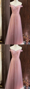 Fashion Off Shoulder Tulle Floor Length Homecoming Dress, Long Prom Dresses with Beaded,E0469