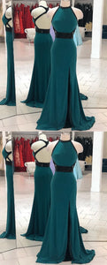 Pretty Backless Mermaid Evening Dress with Split Slit, Sexy Long Prom Dresses,E0471