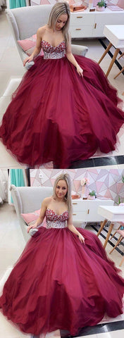 Sweetheart neck Tulle Crystal Beaded Long Prom Dresses, Burgundy Party Dress, Pretty Evening Dress,E0473