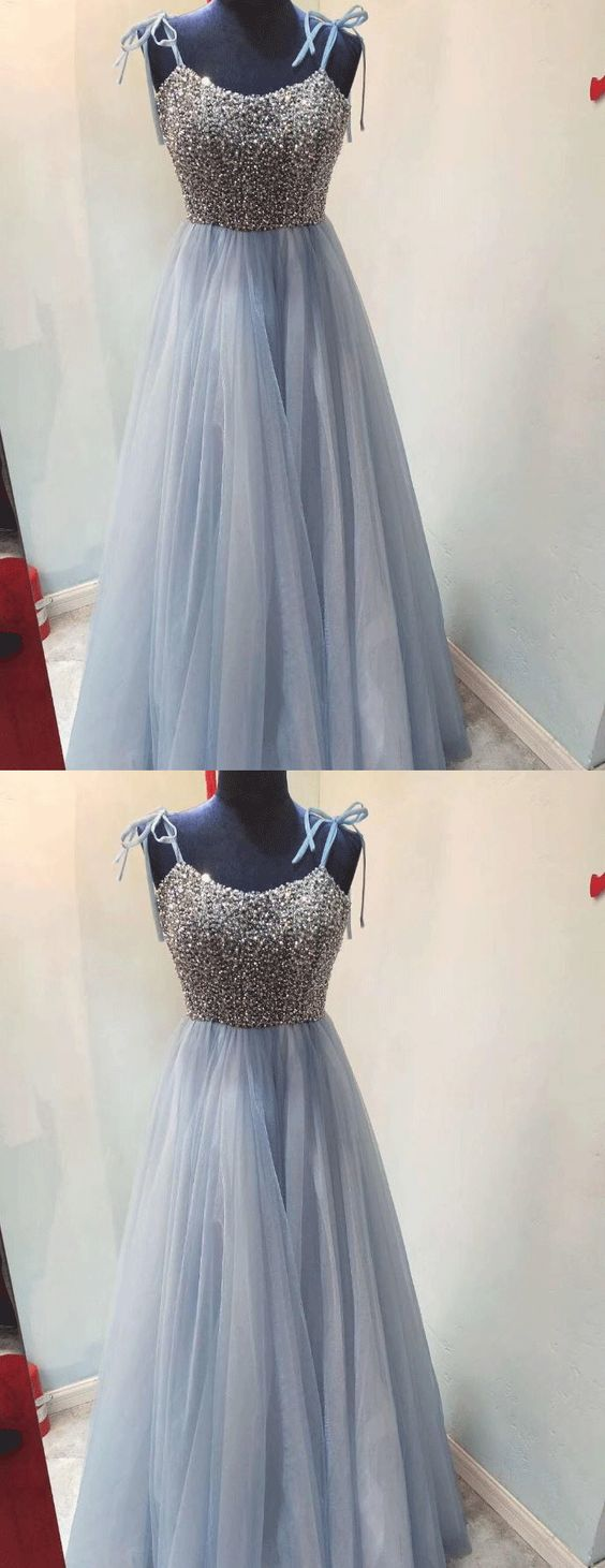 Elegant Tulle Beaded Long Prom Dresses, Blue Floor Length Homecoming Dress, Evening Formal Dress,E0475