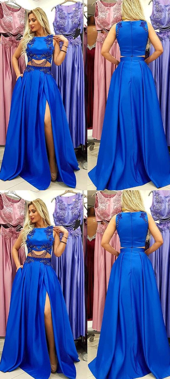 Charming Royal Blue Beaded Prom Dress, Split Slit A Line Evening Dress,E0476