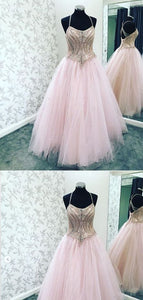 Elegant Pink Beaded Tulle Evening Dress, Pink Long Prom Dresses,E0478