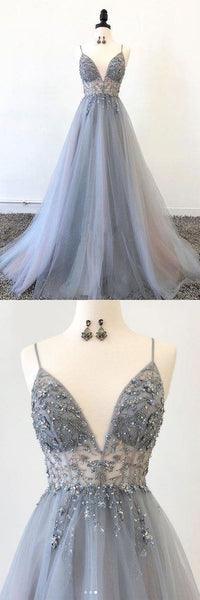 Charming V neck Appliques Beads Tulle A Line Prom Dress, Straps Long Evening Party Dress,E0479