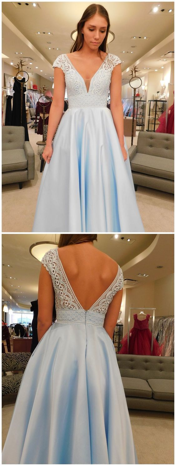 Charming Lace Blue A Line Open Back Evening Dress, Long Prom Dress,E0481
