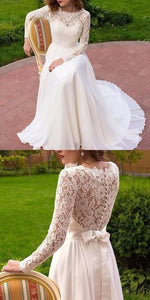 Fashion Lace White Evening Party Dress, Elegant Chiffon Long Prom Dress,E0482