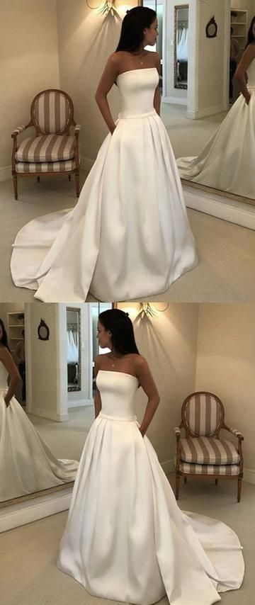 Charming Strapless White A Line Prom Dress with Sweep Train, Long Evening Dress,E0484