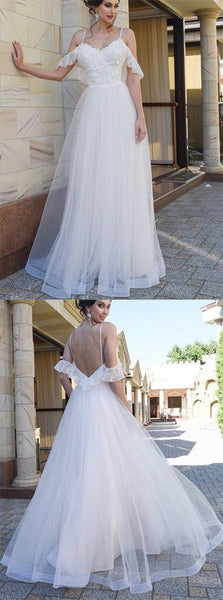 White Tulle Open Back Appliques Long Prom Dress, Spaghetti Straps Prom Party Dress,E0487