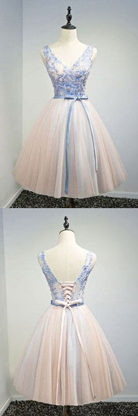 Charming Prom Dress, Tulle Short Homecoming Dresses, Appliques V Neck Prom Gowns,E0490