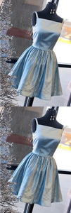 modest blue satin short prom dresses, simple square neck party dresses with pleats, gorgeous a line evening gowns with beading ,E0495