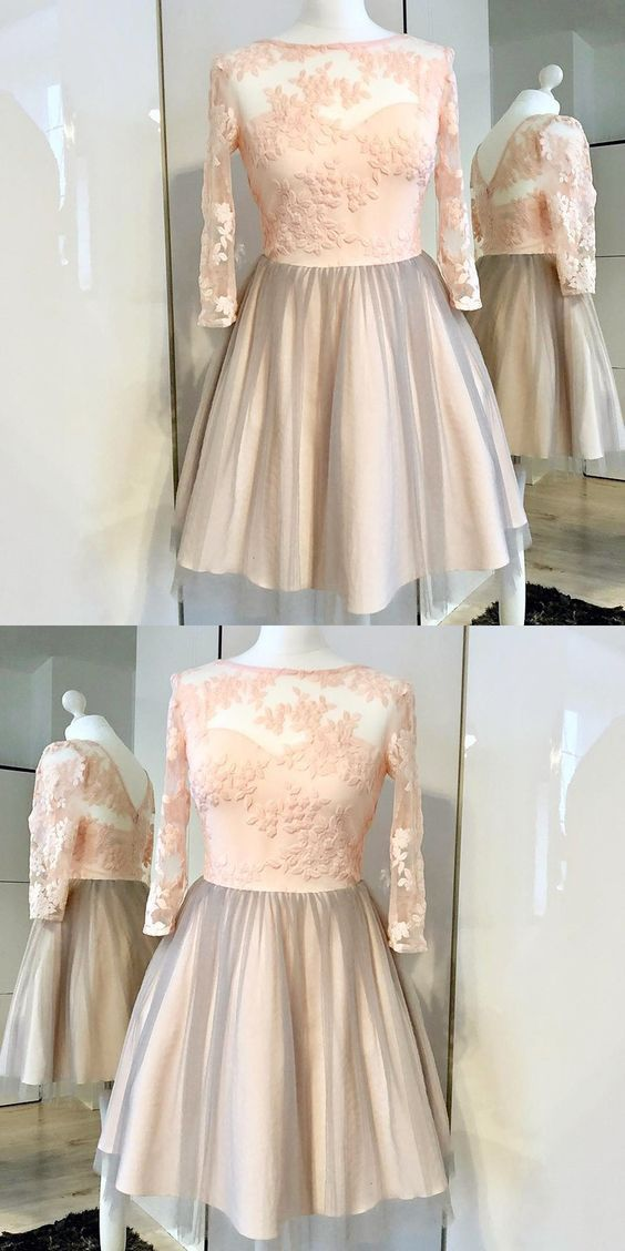 A-Line Bateau Long Sleeves Pink Tulle Homecoming Dress With Appliques,E0500