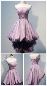 Short Mini Pink Homecoming Dress, Strapless Tulle Cocktail Dress,E0502