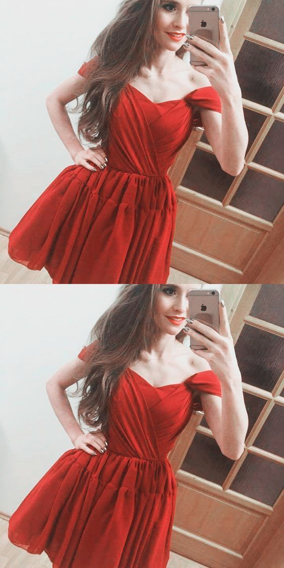 Off The Shoulder Chiffon Homecoming Dresses, Cute Short Prom Party Dresses For Girls, Elegant Red Hoco Dresses,E0504