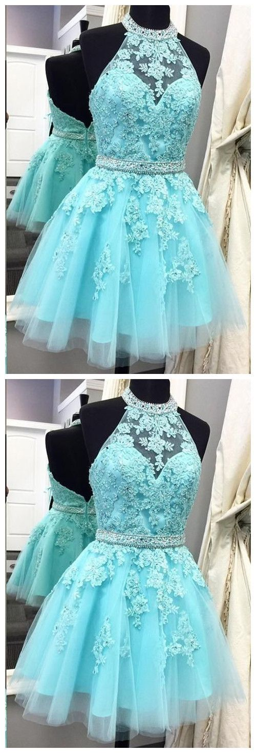 Cute Light Blue High Neck Tulle Homecoming Dress,Backless Beaded Party Dress,E0509