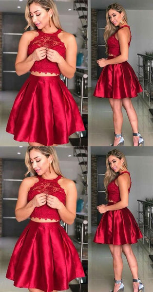 Two Piece Homecoming Dresses Short Dress,E0512