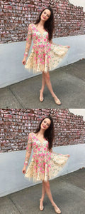 Cute lace applique short prom dress,homecoming dress,E0513