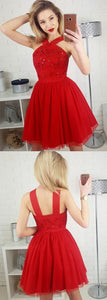 Stylish A-Line Straps Red Tulle Short Homecoming Dress With Sequins,E0514