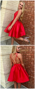 Red Satin Short Homecoming Dress Simple Party Gowns,E0515