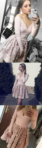A-Line Pink Round Neck Long Sleeves Short Prom Homecoming Dress,E0522
