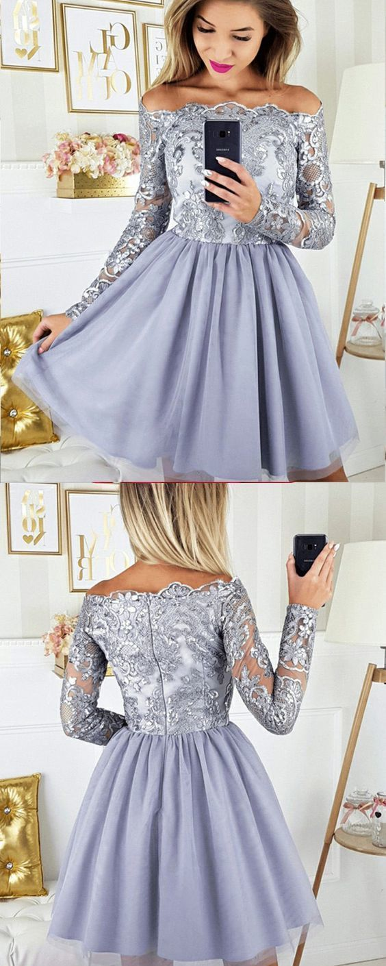 Off the shoulder dusty homecoming dress, lace short chiffon prom dress,E0524