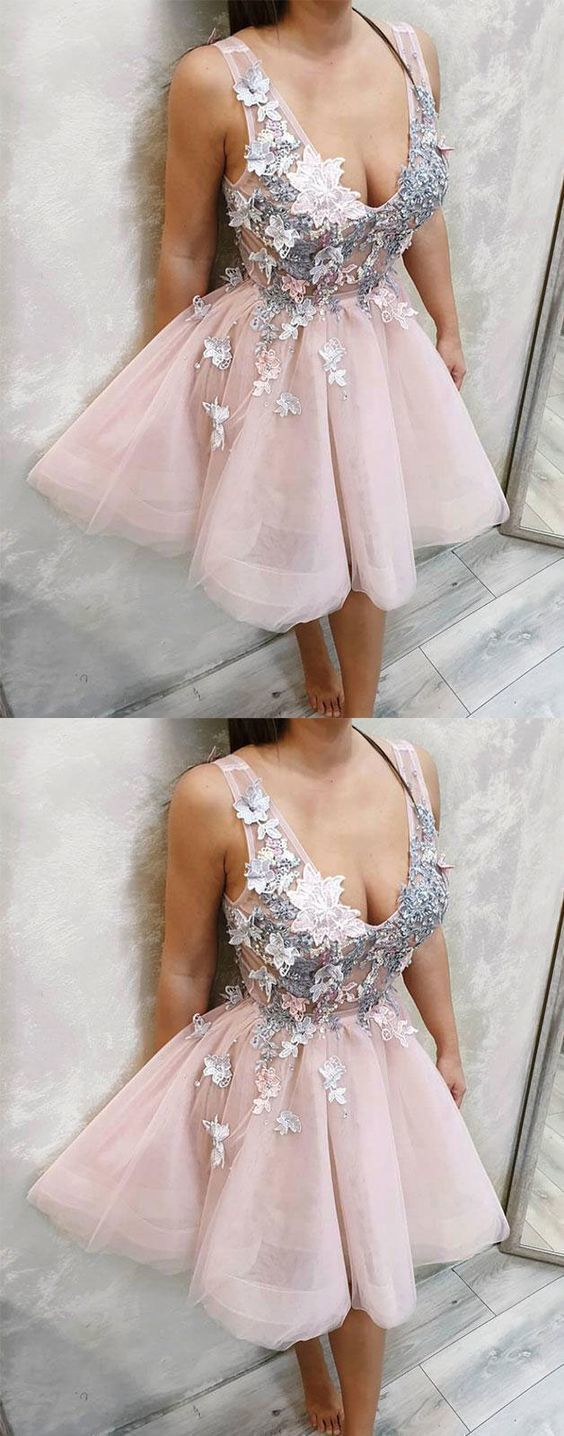 V neck tulle lace short prom dress, lace homecoming dress,E0526