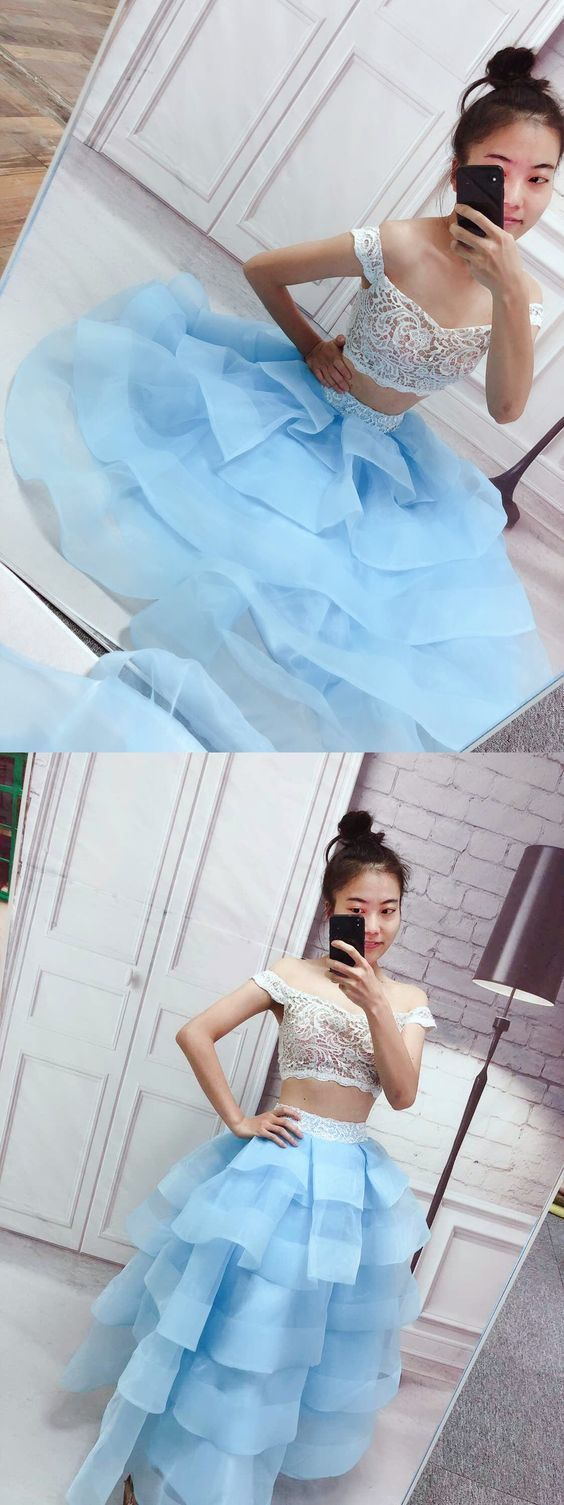 Two Piece Off-the-Shoulder Tiered Blue Tulle Prom Dress with Lace,E0532