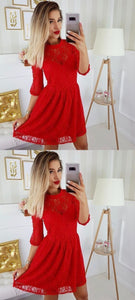 A-Line Round Neck 3/4 Sleeves Red Lace Short Homecoming Dresses,E0533