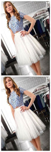 Two Piece Homecoming Dress,Lace Top Homecoming Dress,Short Homecoming Dresses,Short Sleeves Homecoming Dresses,E0535