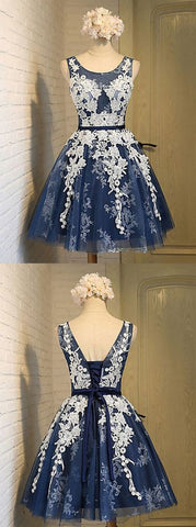 A-line Scoop Knee-length Navy Blue Organza Homecoming Dress with Appliques,E0538