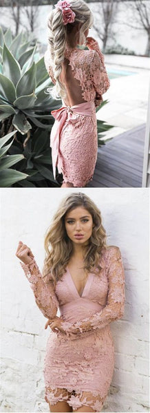 short pink lace long sleeves bodycon dress,Custom Made Evening Dress,,E0541