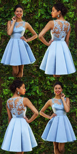 Sky Blue Homecoming Dresses,Lace Homecoming Dress,Sexy Homecoming Dresses,Short Prom Dress,Satin Cocktail Dresses,E0563