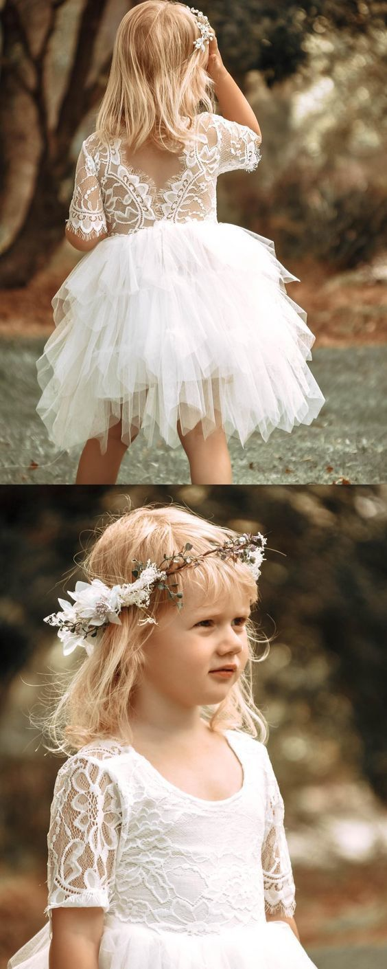 Adorable Pretty Custom Made Cute Half Sleeves Lace Flower Girl Dress,E0570