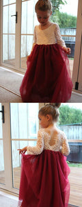 Pretty A-Line Round Neck Long Sleeves Burgundy Flower Girl Dress with Lace,E0571