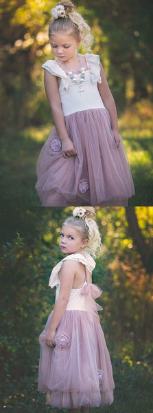 A-Line Square Neck Blush Tulle Flower Girl Dress,E0573