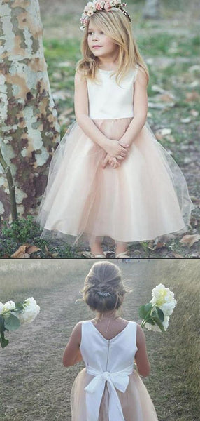 Stunning Sleeveless A Line Satin Flower Girl Dresses,E0576