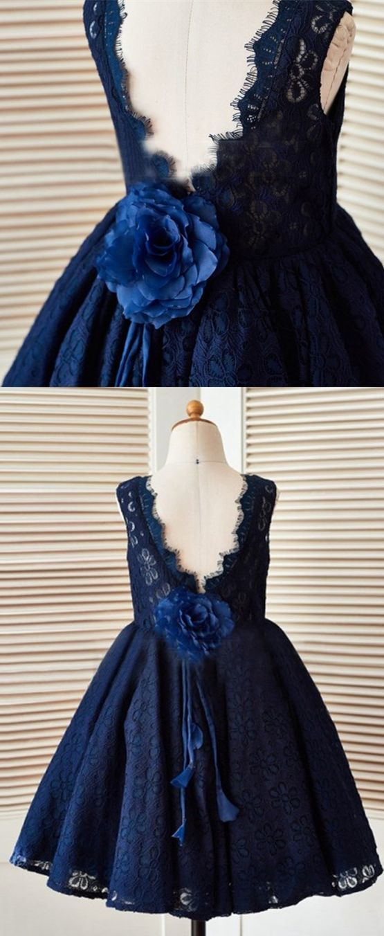 A-Line Jewel V-Back Navy Blue Lace Flower Girl Dress with Flowers,E0577