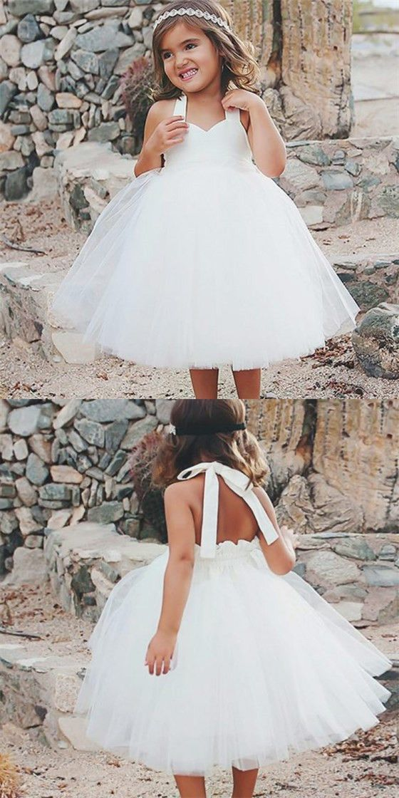 Lovely Ball Gown Halter Backless White Long Tulle Flower Girl Dresses,E0578