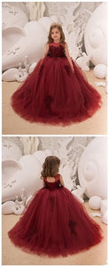Flower Girl Dress - Birthday Wedding party Bridesmaid Holiday Maroon Lace Flower Girl Dress,E0582