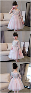 Flower Girl Dresses, Zipper Flowers Appliques Knee-length Ball Gown Princess Flower Girls Dress Communion,E0585