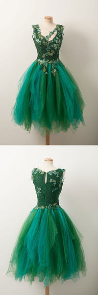 Unique V Neck Green Tulle Lace Short Prom Dress, Green Homecoming Dress,E0588