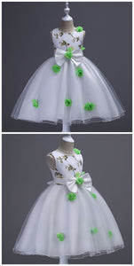 Flower Girl Dresses, Bow Embroidry Appliques Pearls Lace ,E0590