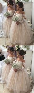 Long Sleeves a line tulle and lace Flower Girl Dress,E0591